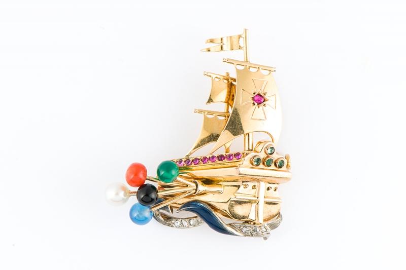 [写真]ヴィンテージ帆船ブローチ