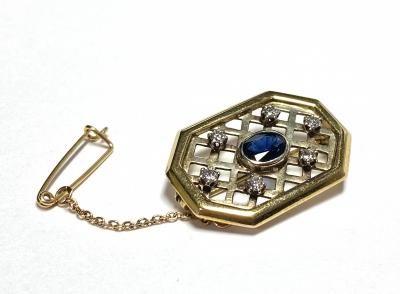 [サムネイル]サファイア、ダイヤモンドのブローチ