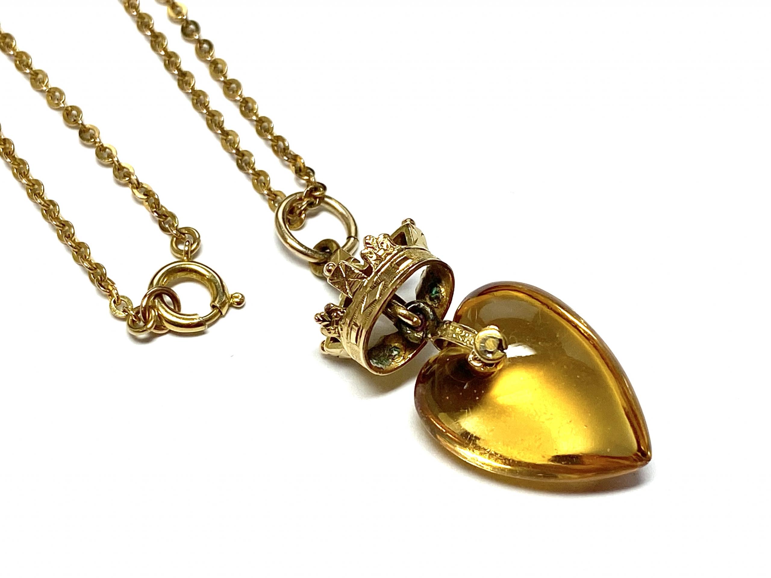 [写真]シトリン ハートのネックレス