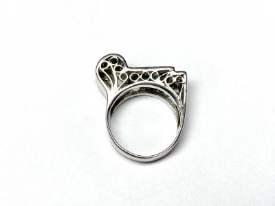 [サムネイル]サファイア&ダイヤモンド  レトロスタイルリング