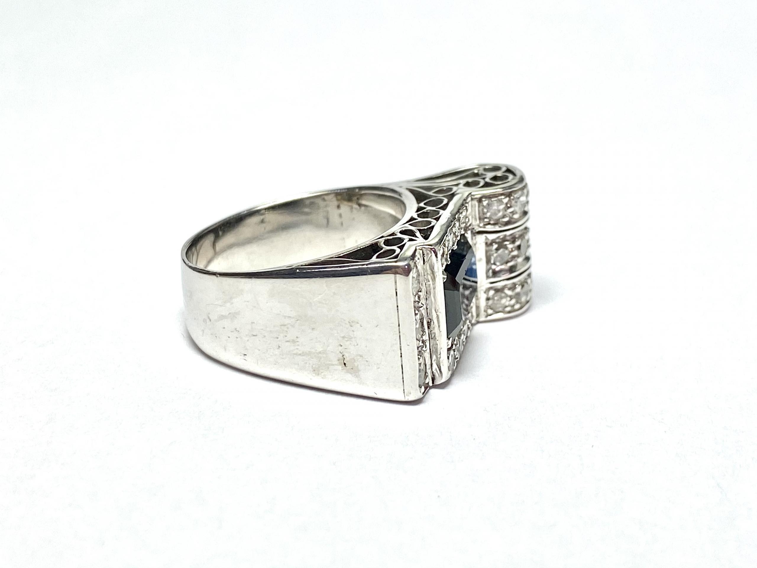 [写真]サファイア&ダイヤモンド  レトロスタイルリング